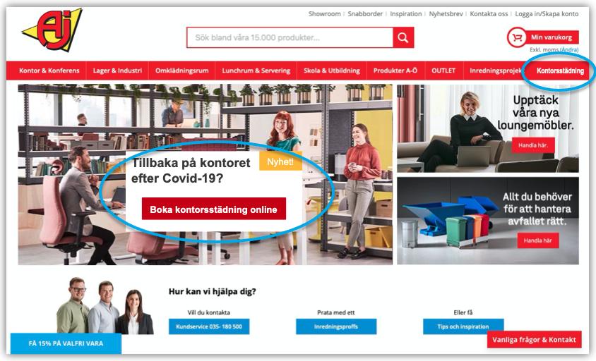 AJ Produkter sajt med kontorsstädning i samarbete med Bokahem